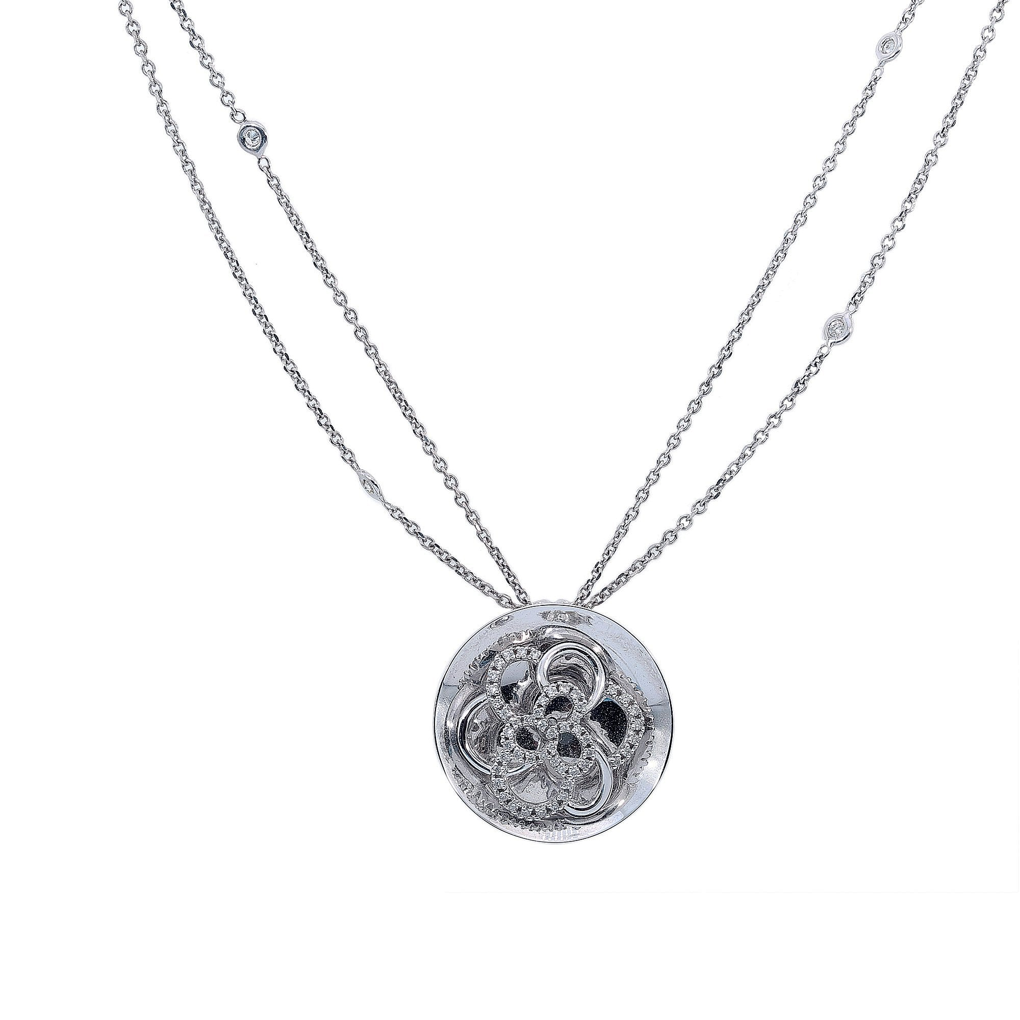 14K White Gold Women Round Shaped Necklace