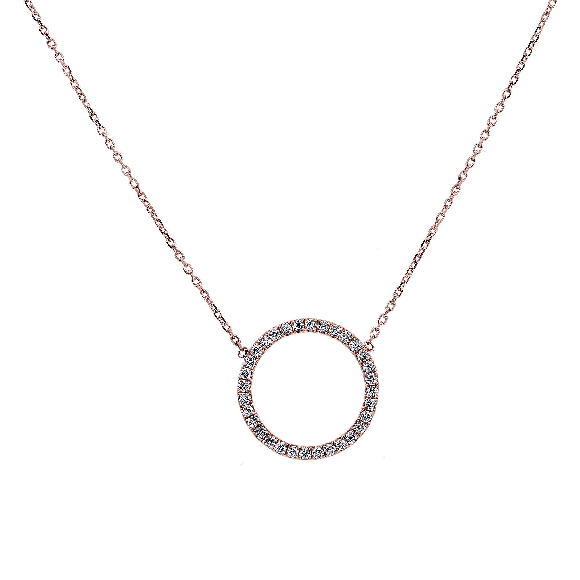 14K Rose Gold Women Round Shaped Necklace