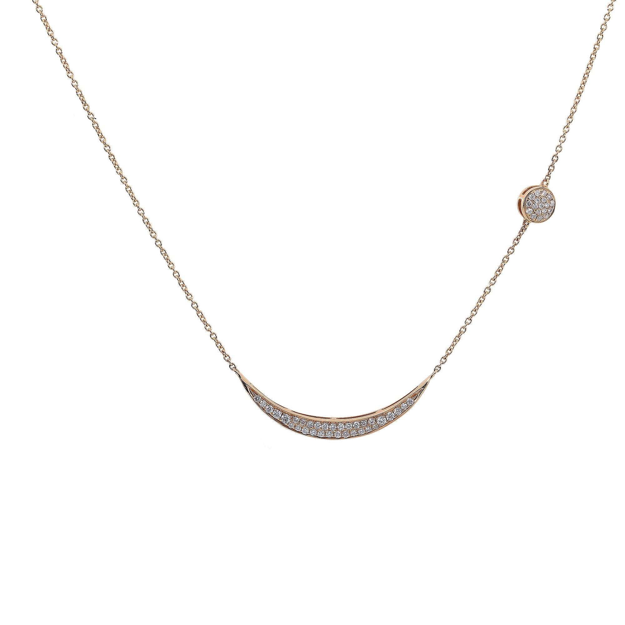 18K Yellow Gold Women Moon Shaped Necklace with Round Pin