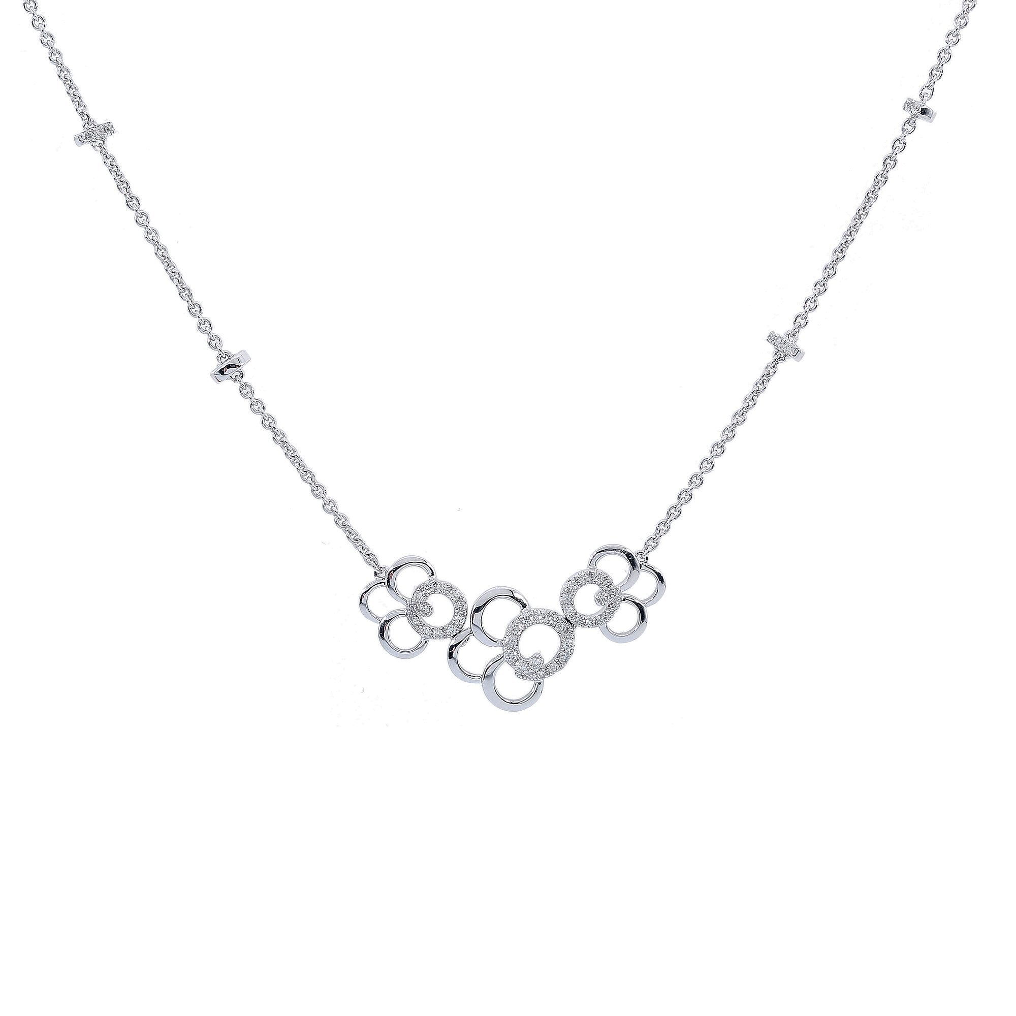 18K White Gold Women 3 Flowers Shaped Necklace