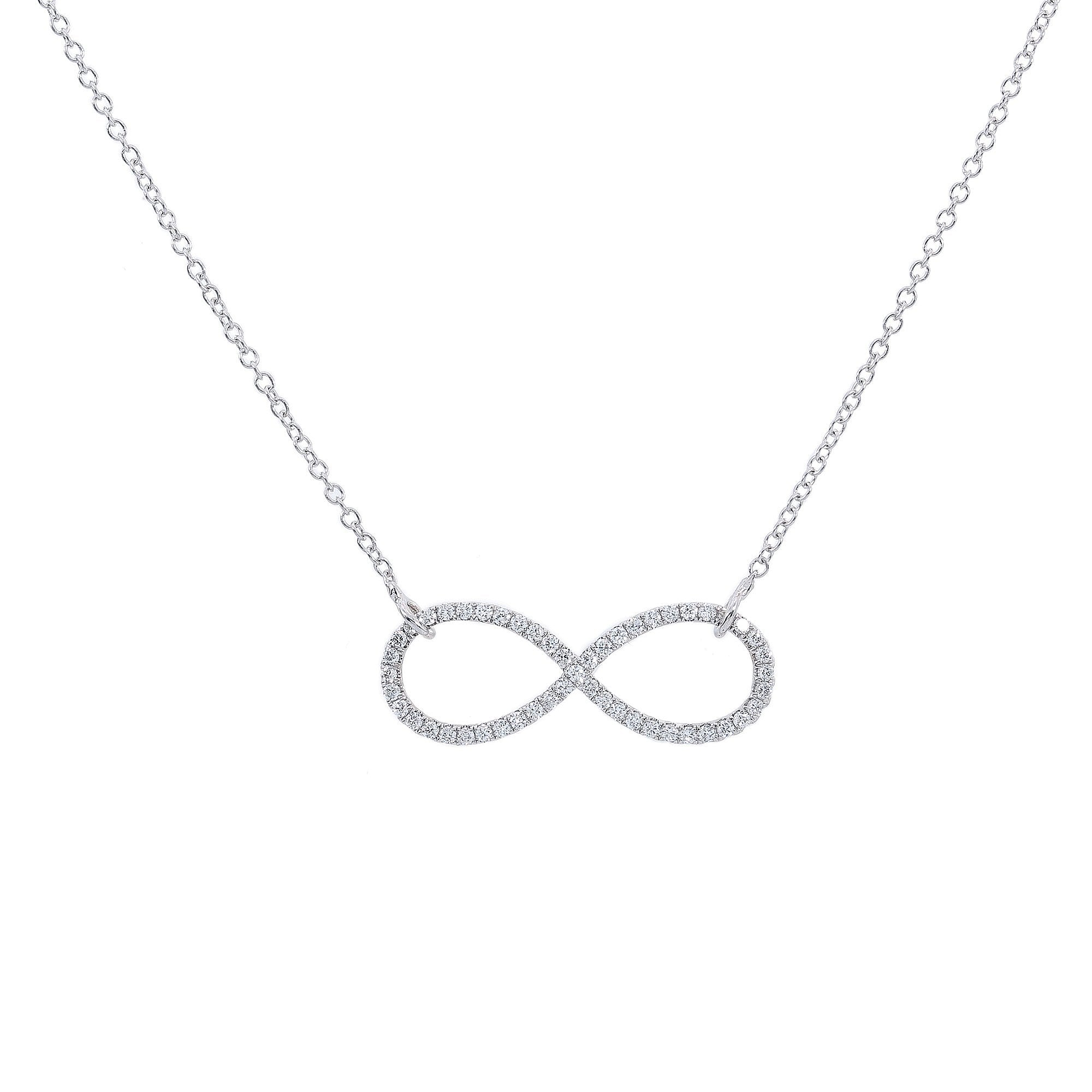 18K White Gold Women Infinity Sign Shaped Necklace