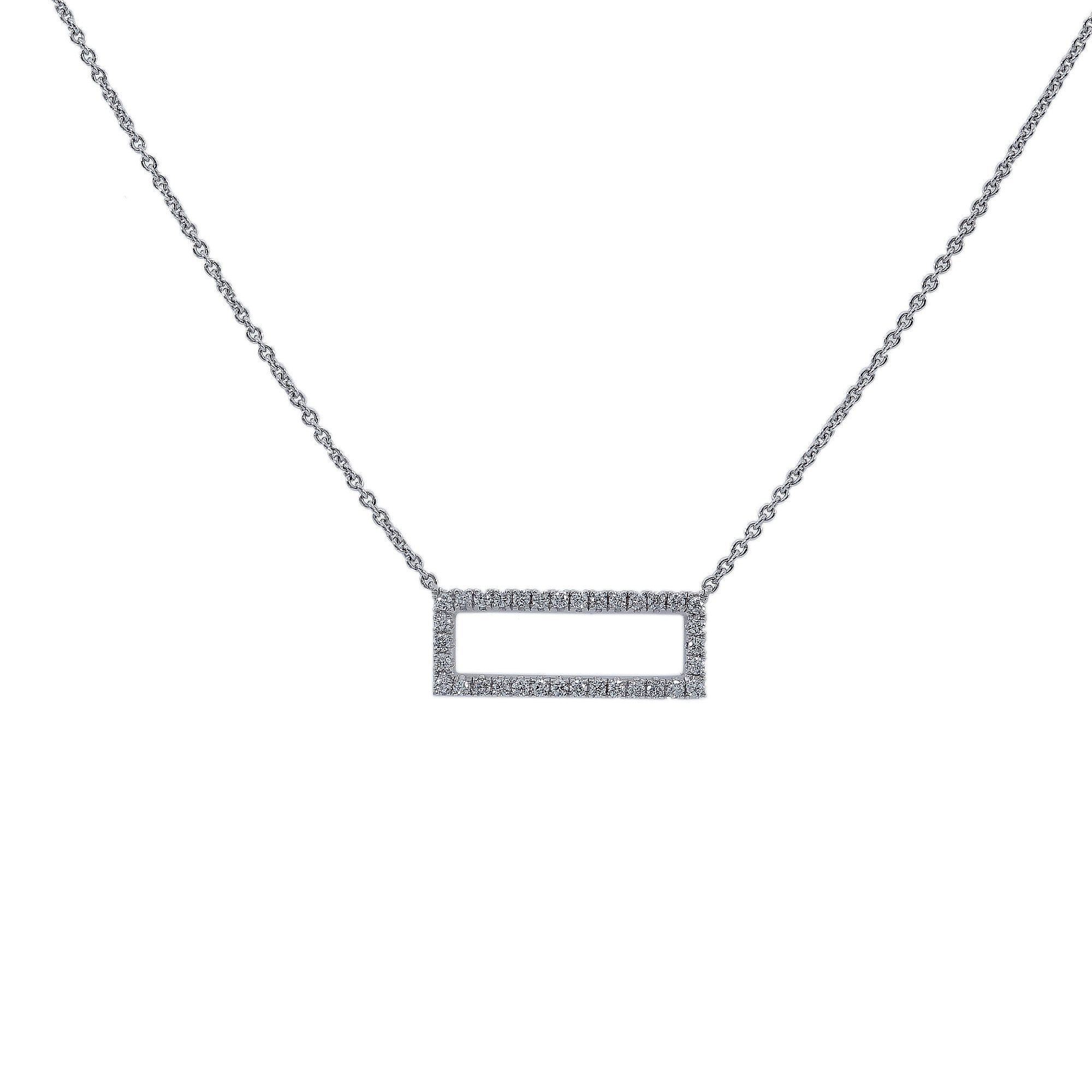 18K White Gold Women Rectangular Shaped Necklace