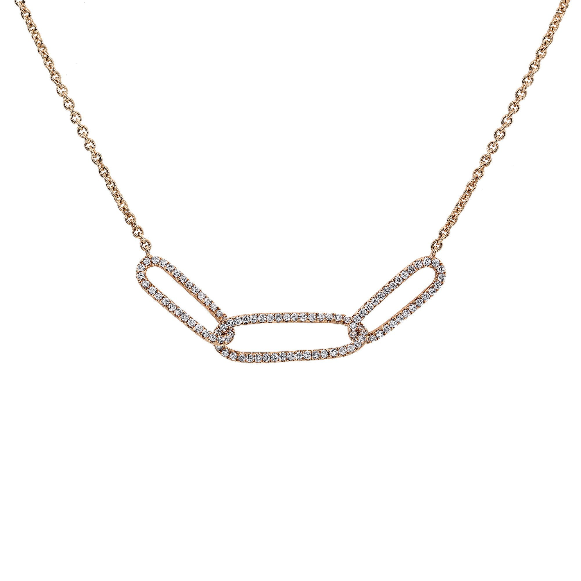 18K Yellow Gold Women 3 Rounds Shaped Necklace