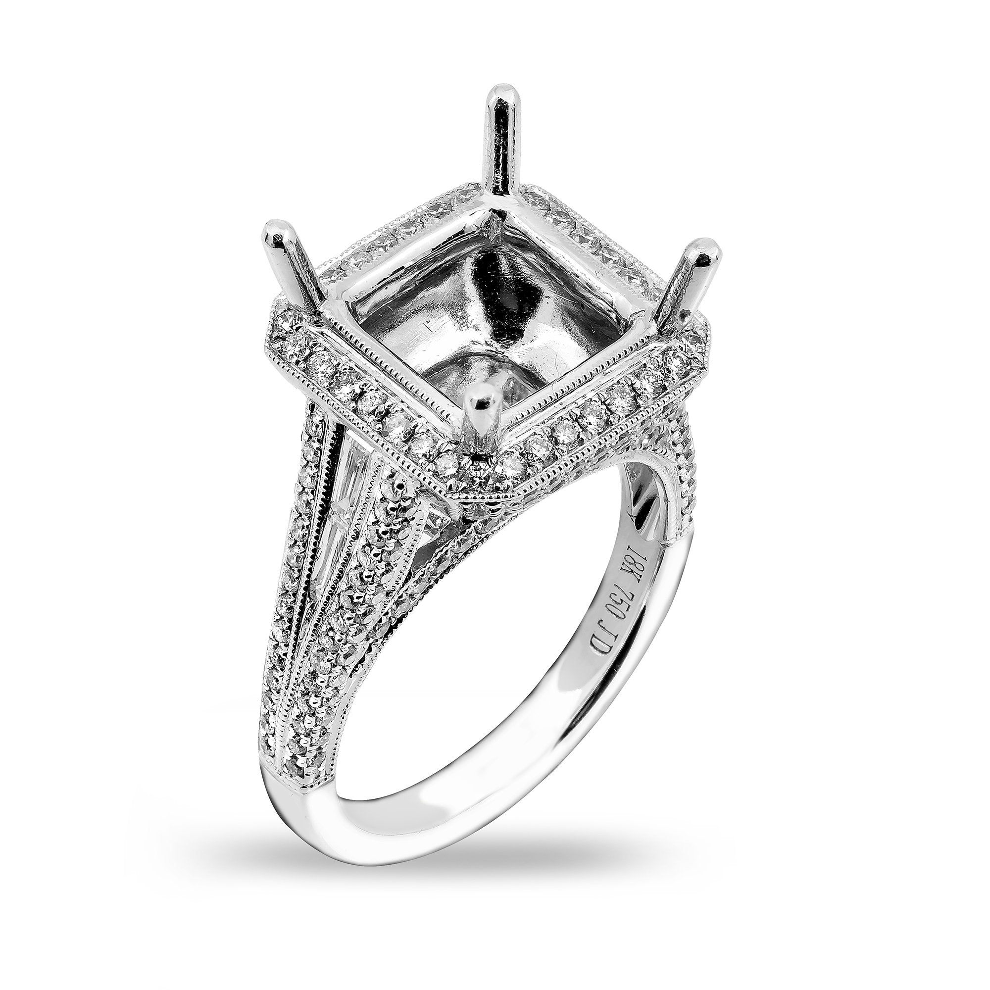 18K White Gold Semi-Mounting Women's Ring With 1.50 CT Diamonds