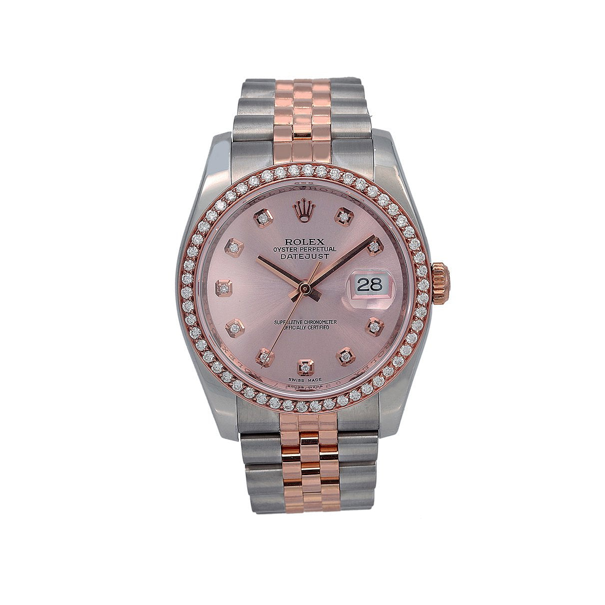 Rolex Datejust Diamond Watch, 116231 36mm, Pink Diamond Dial With 1.20 CT Diamonds