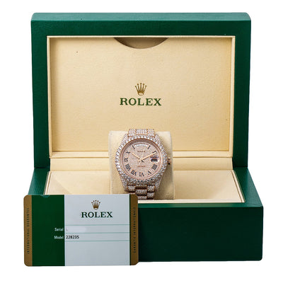 Rolex Day-Date 228235 40MM Rose Gold Diamond Dial With 25.25 CT Diamonds