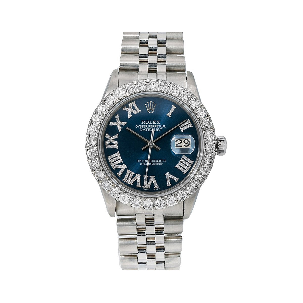 Rolex Datejust Diamond Watch, 31mm, Blue Diamond Dial With 2.95 CT Diamonds