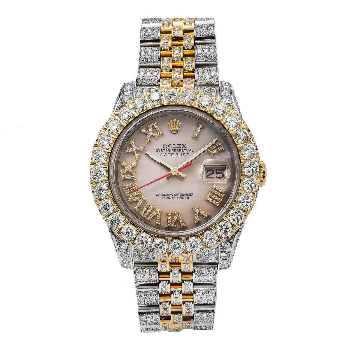 Rolex Datejust Diamond Watch, 116263 36mm, Light Pink Mother Of Pearl Roman Numeral Dial With 13.75CT Diamonds Watch