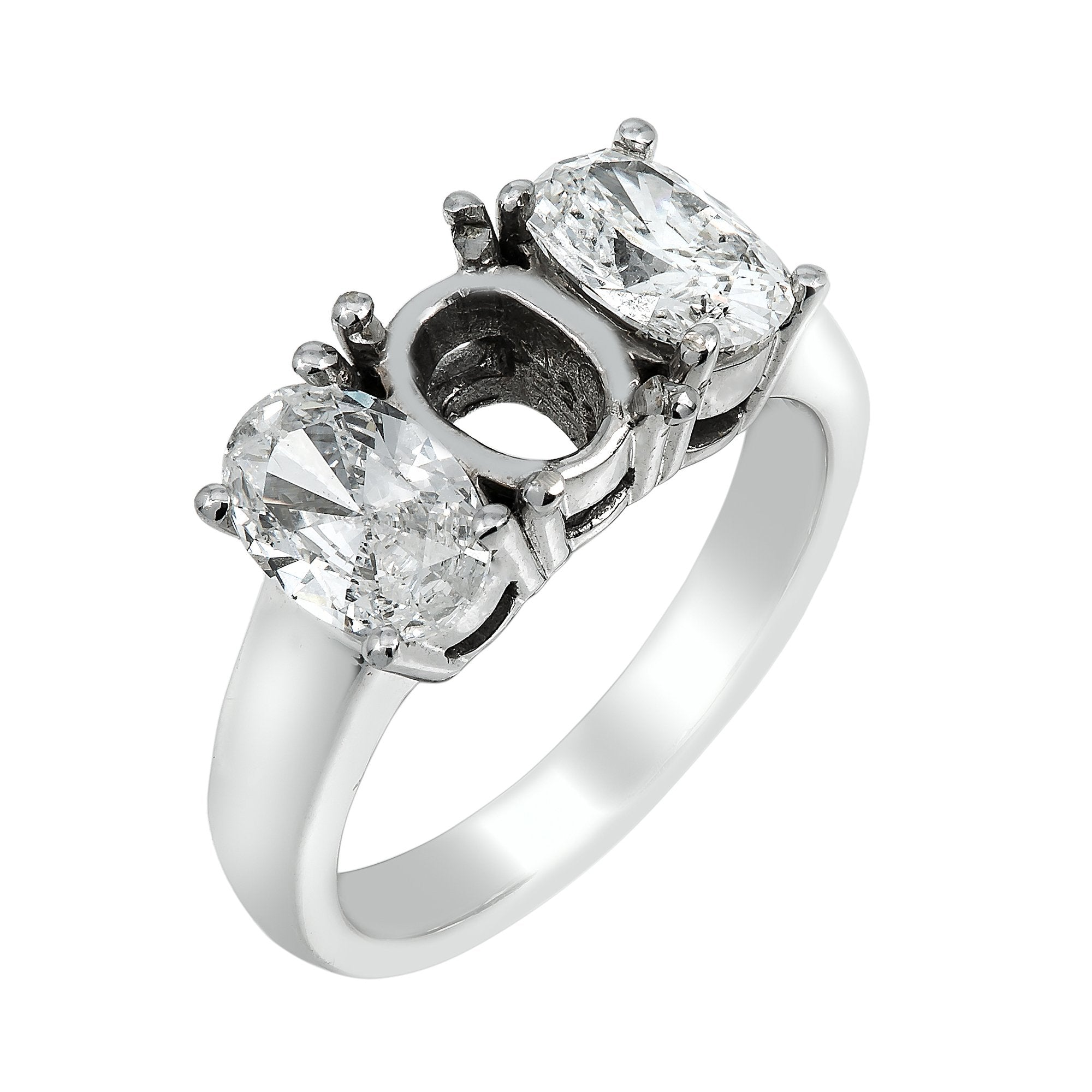 14K White Gold Diamond Engagement Semi-Mounting Women's Ring With 2.90 CT Diamonds