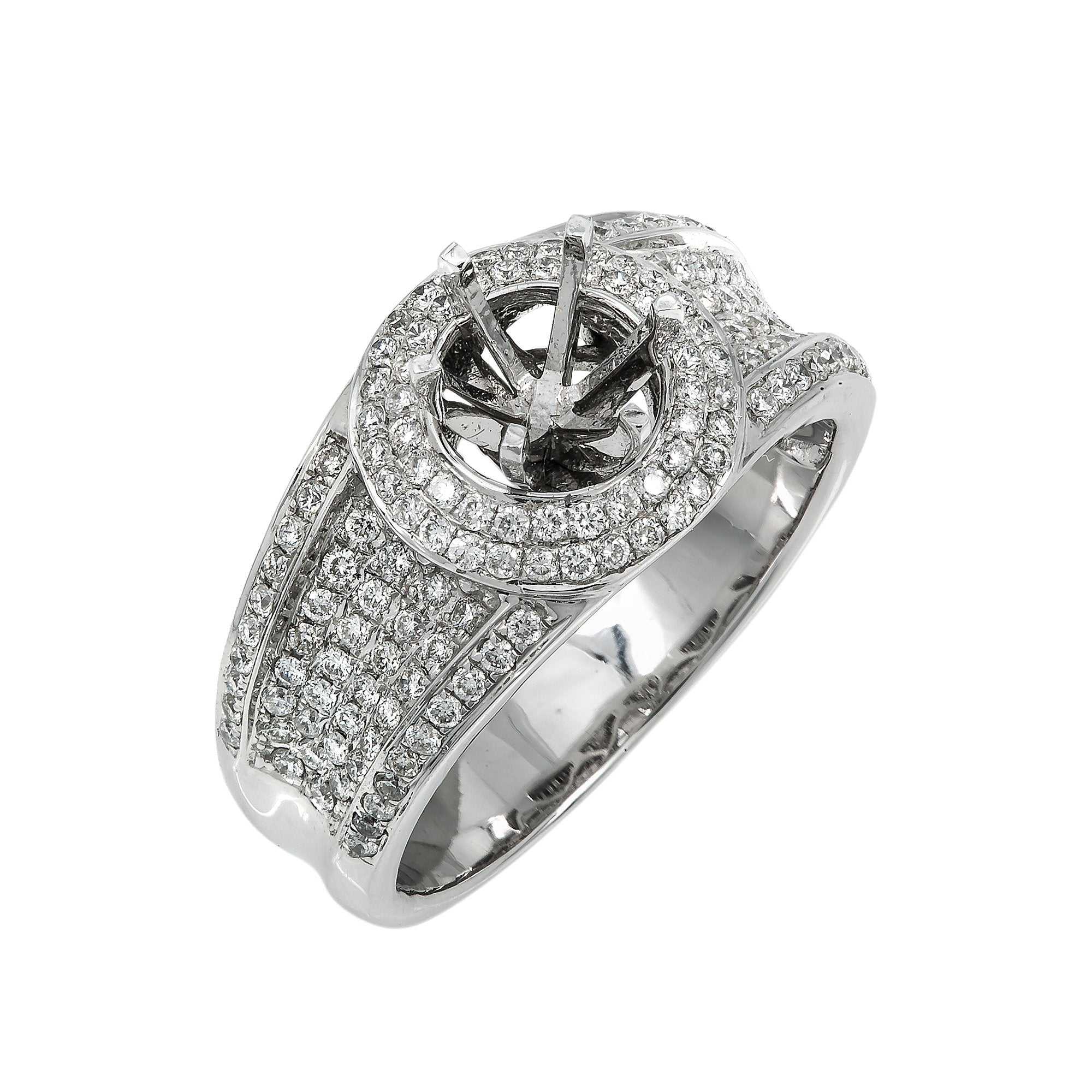 14K White Gold Diamond Engagement Semi-Mounting Women's Ring With 0.75 CT Diamonds