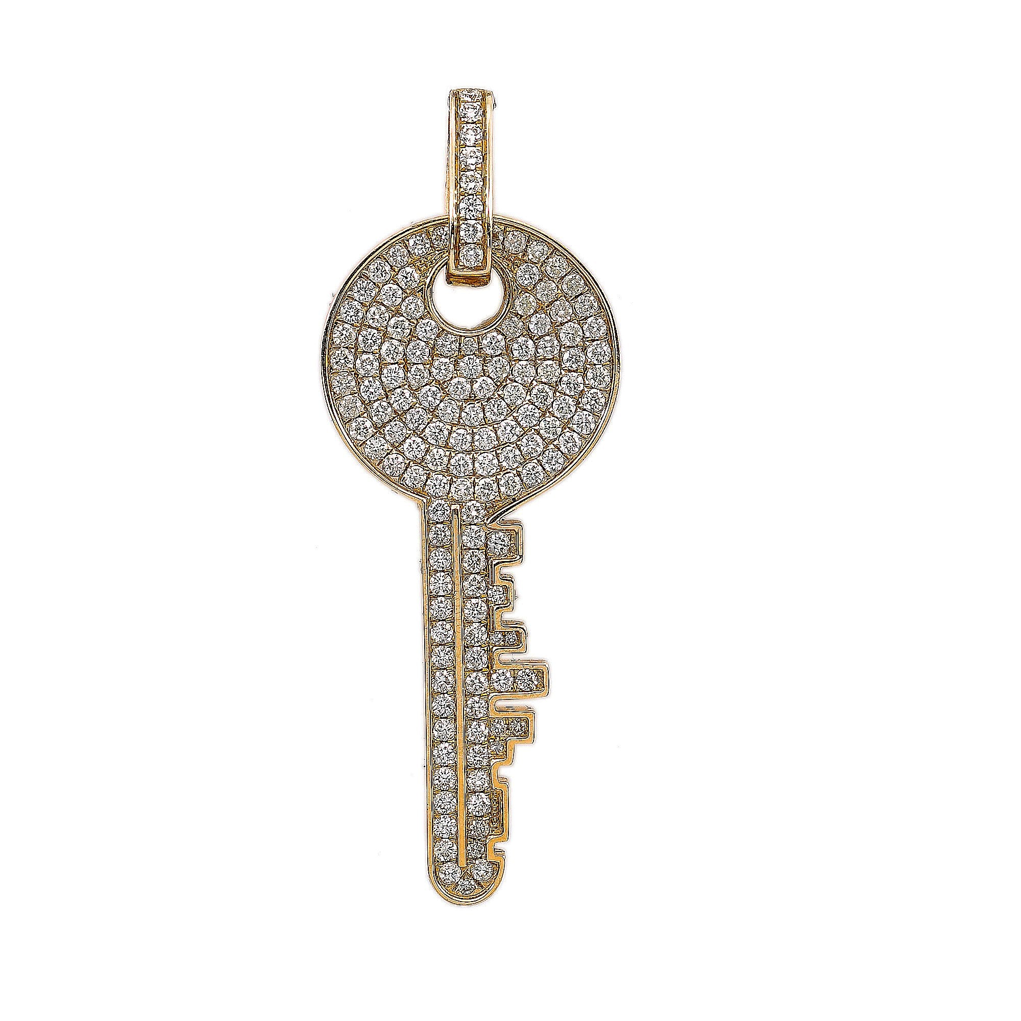 14K Yellow Gold The Key Round Shaped Pendant