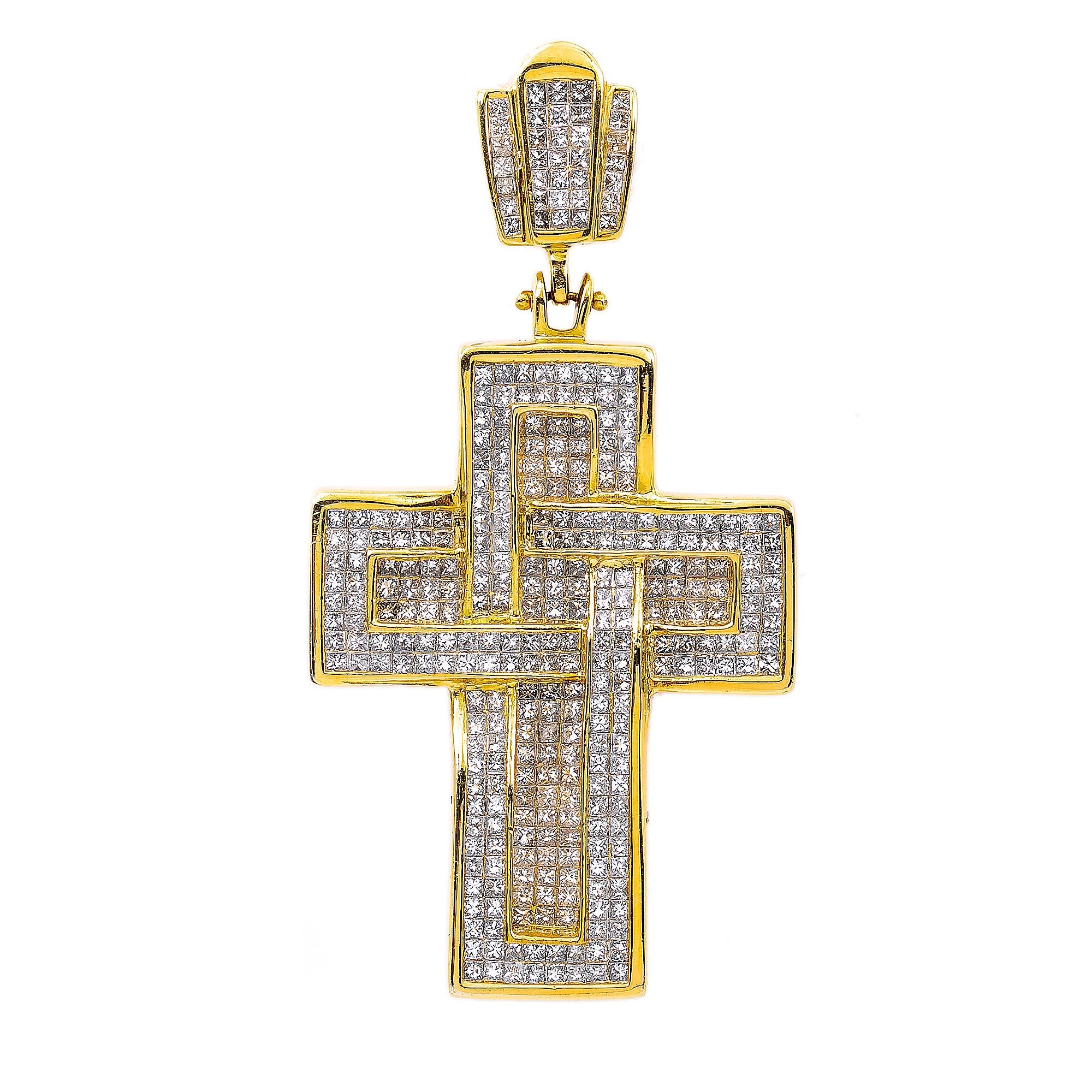 14K Yellow Gold Cross Shaped Pendant