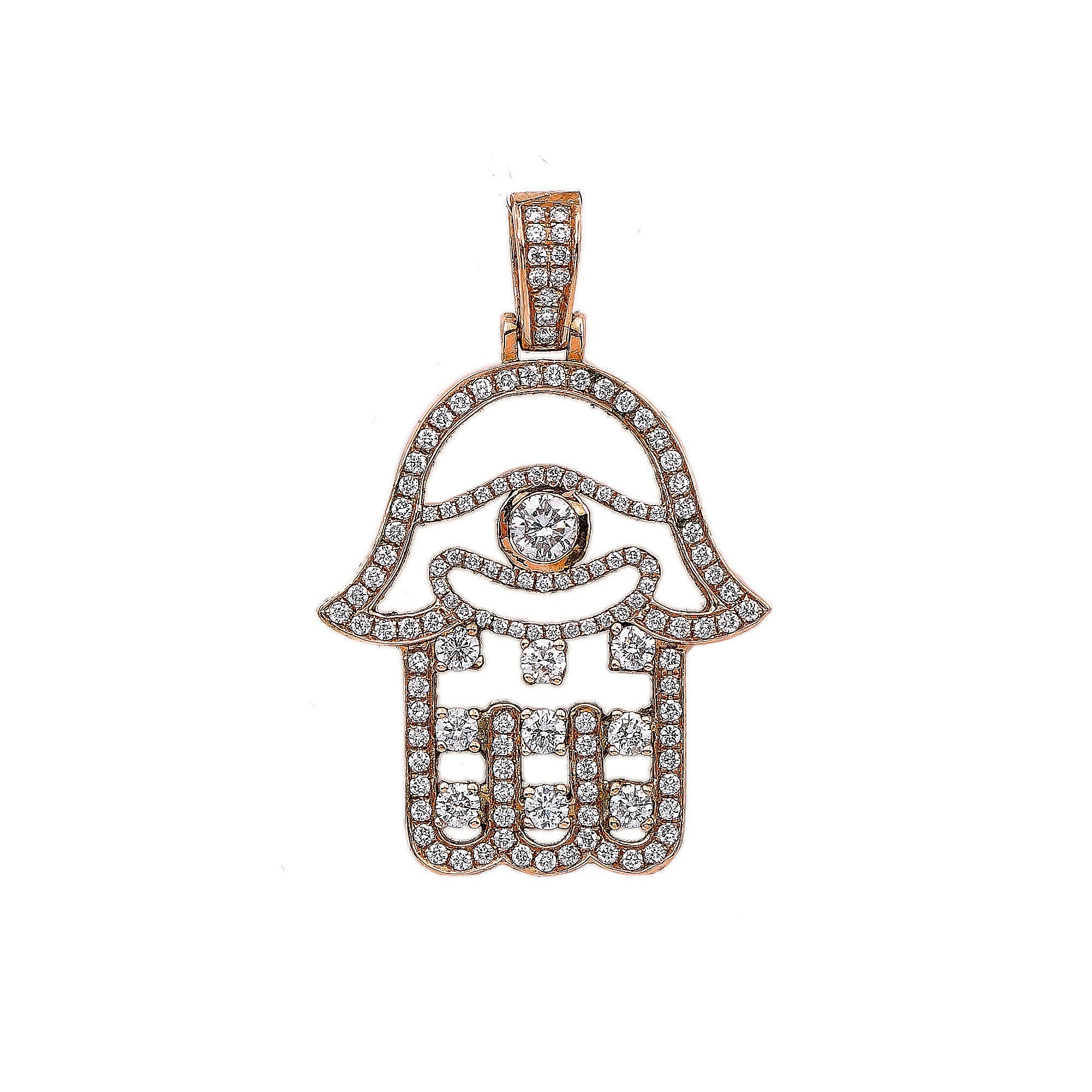 14K Rose Gold Hamsa Shaped Pendant