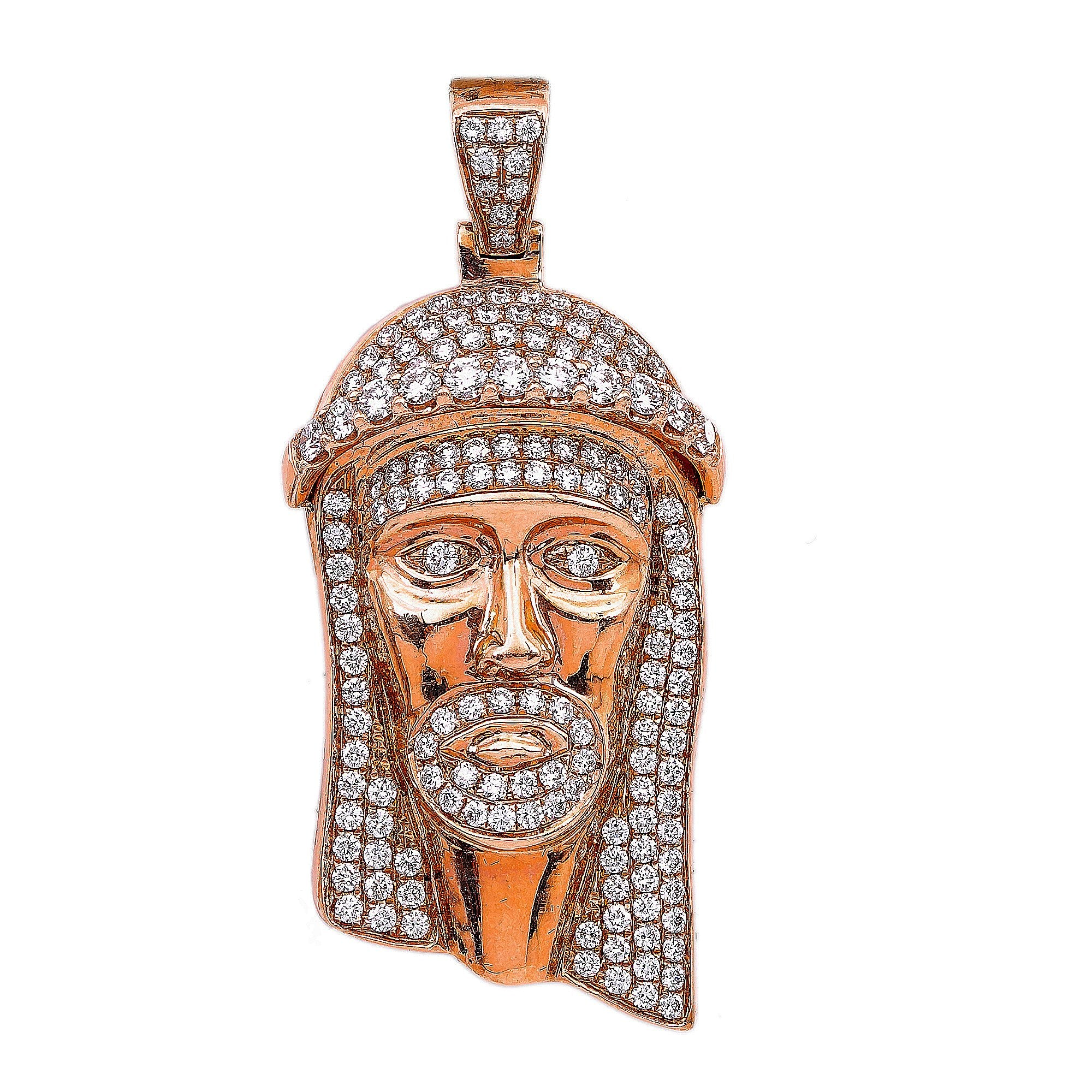 14K Rose Gold Jesus Head Shaped Pendant