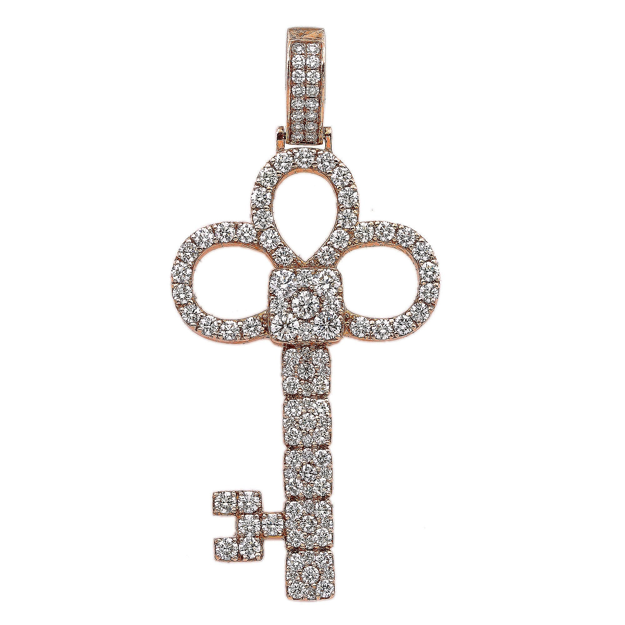 14K Rose Gold Key Shaped Pendant