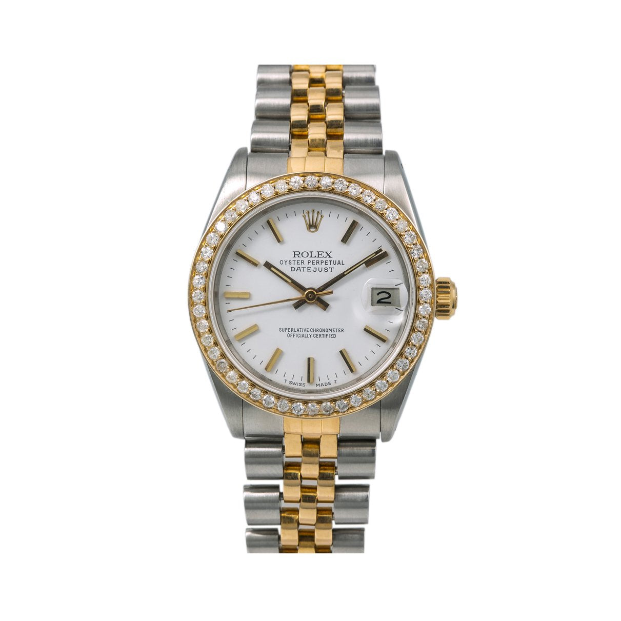 Rolex Datejust Diamond Watch, 68240 31mm, White Dial With 1.05 CT Diamonds
