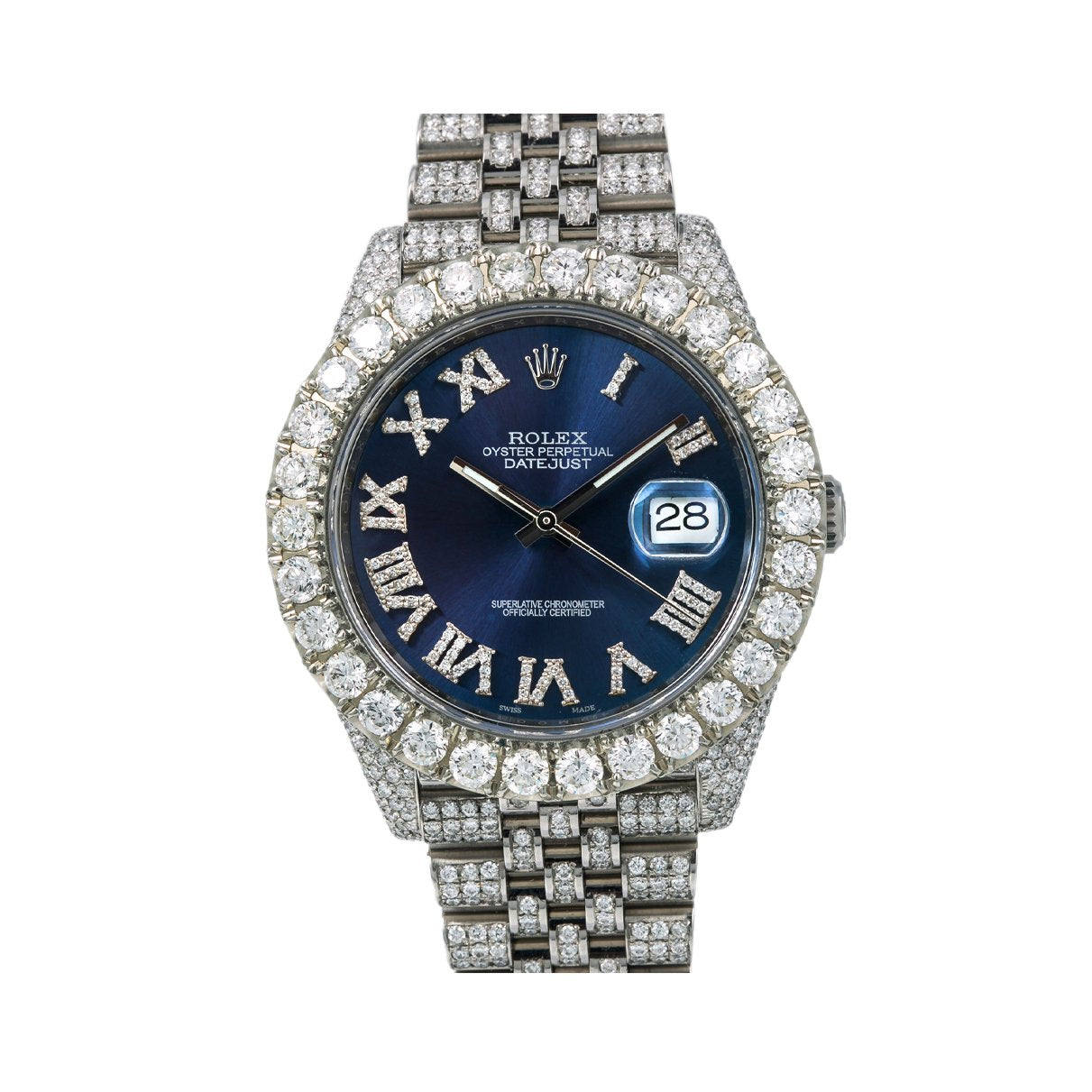 Rolex Datejust Diamond Watch, 126300 41mm, Blue Diamond Dial With Stainless Steel Bracelet