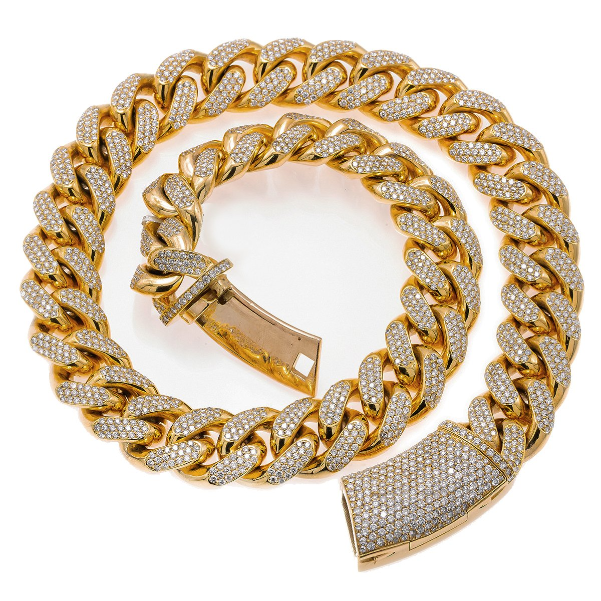"10K Yellow Gold 22"" Cuban Chain With 35.75 CT Diamonds"