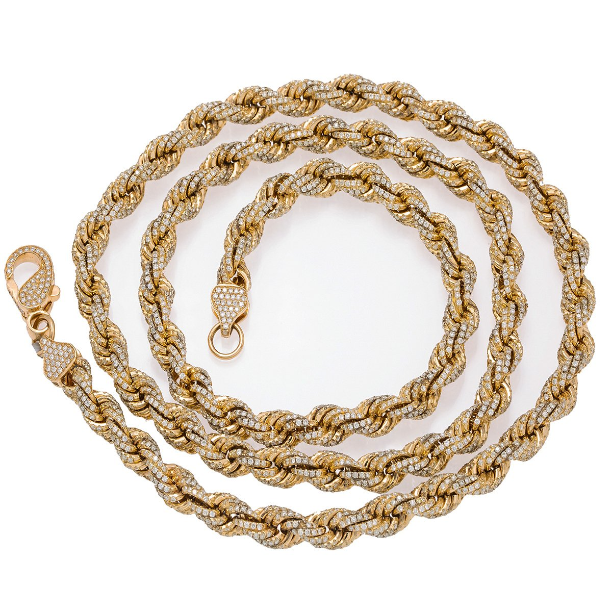 "10K Yellow Gold 30"" Rope Chain With 35.75 CT Diamonds"