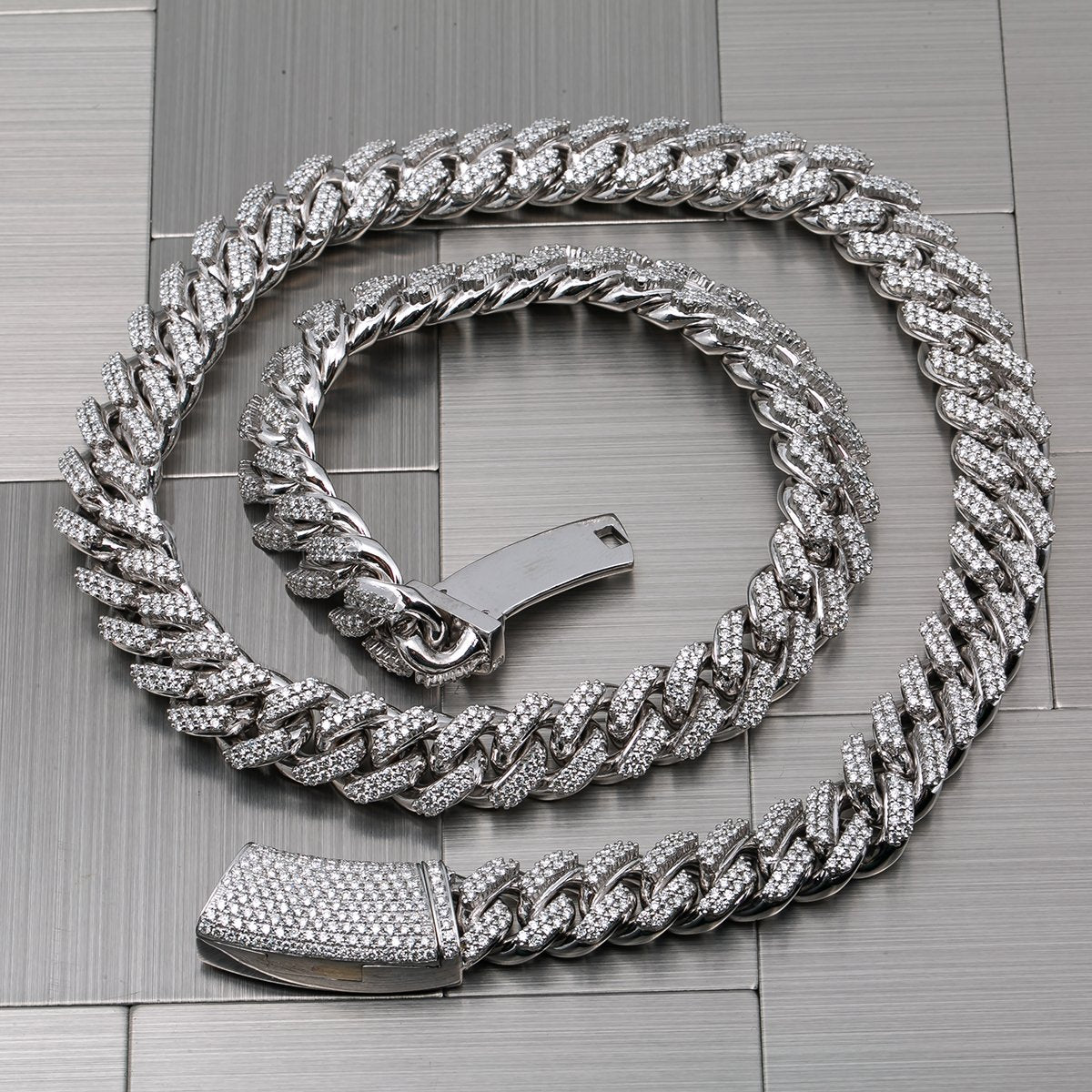 14K White Gold Iced Out Diamond Cuban Link Chain | 20.61 Carats | 12 MM Width | 24 Inch Length