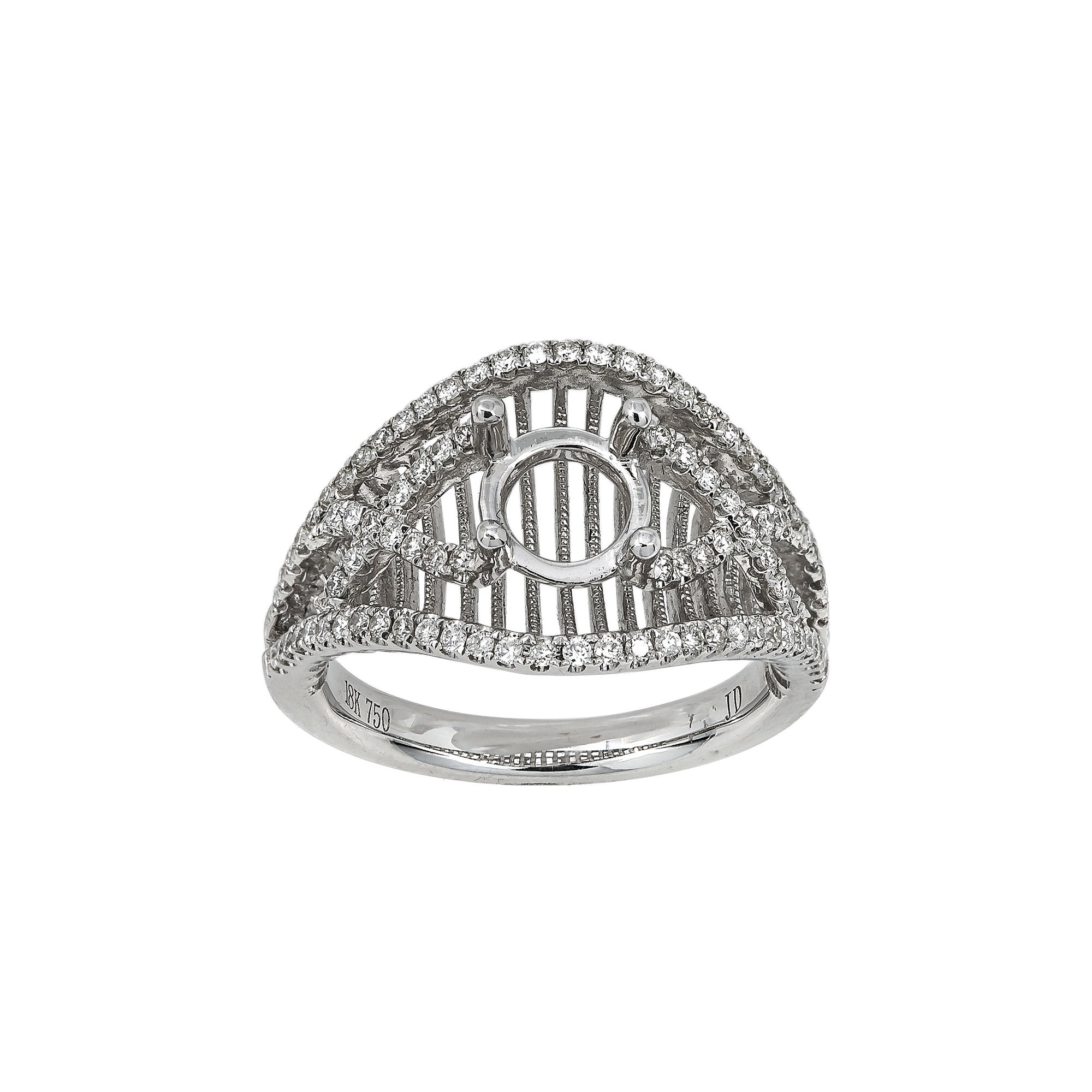 18K White Gold BJ6928R Women's Ring With 0.55 CT Diamonds