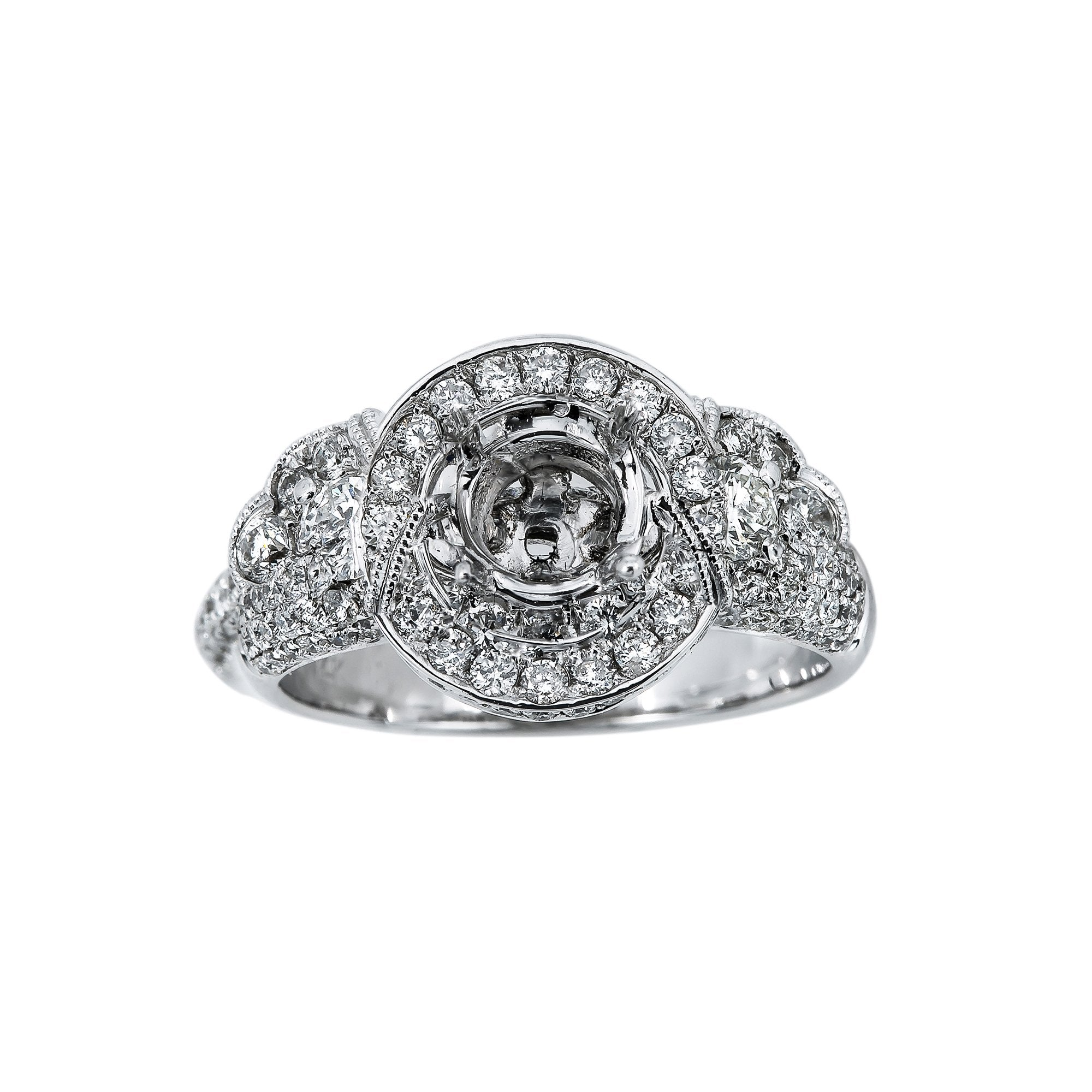14K White Gold RGR05184 Women's Ring With 1.30 CT Diamonds