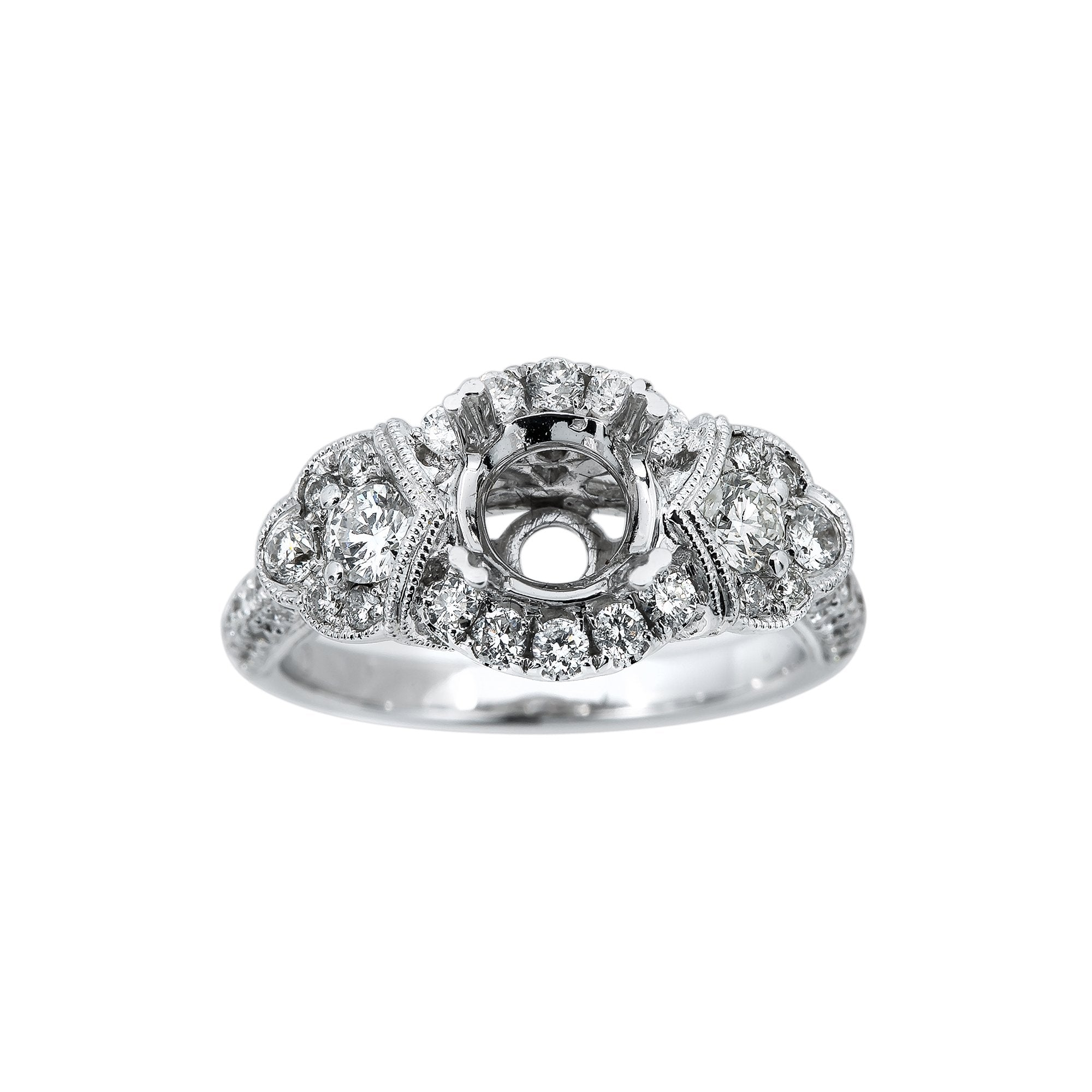 18K White Gold BJ7898R Women's Ring With 1.14 CT Diamonds