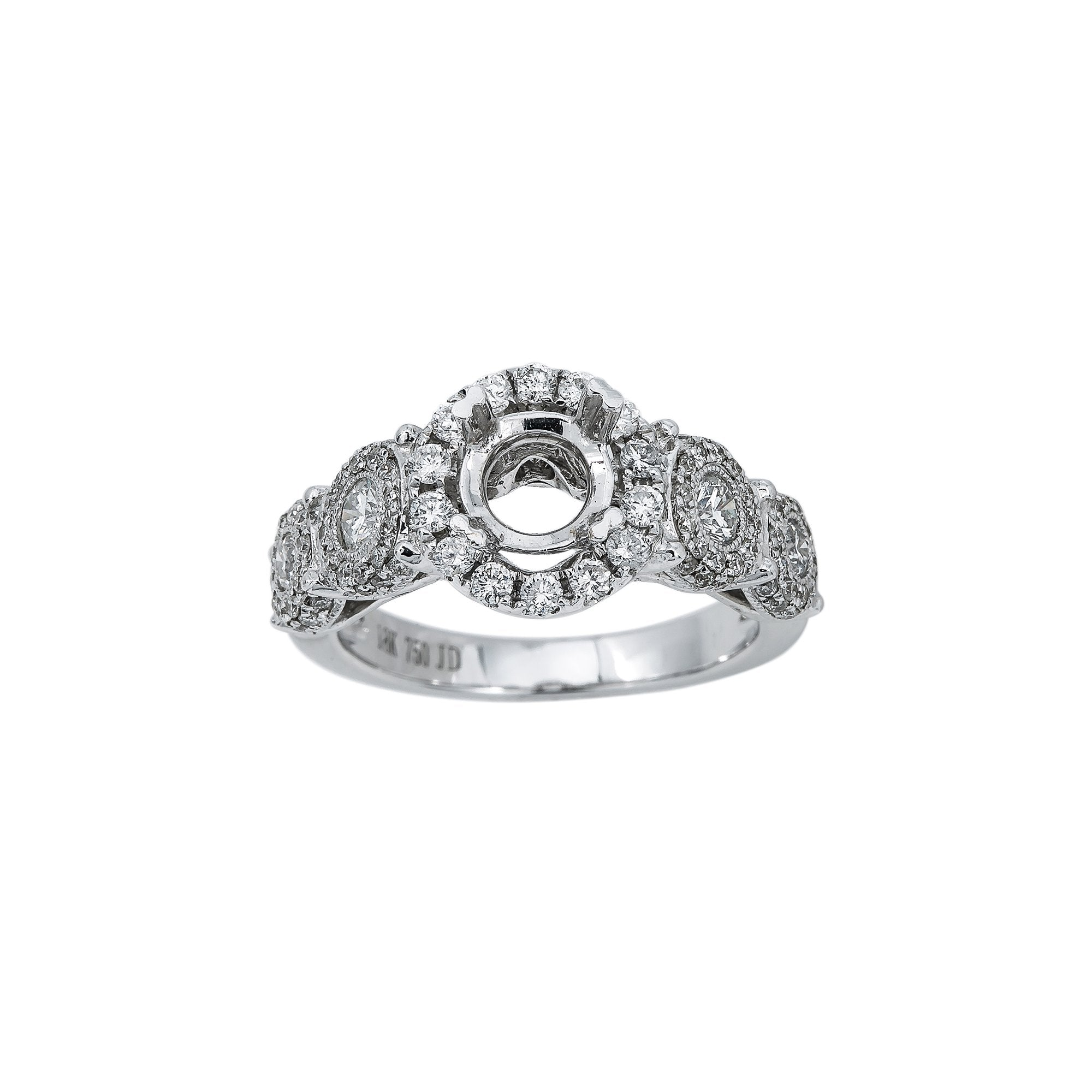18K White Gold BJ7767R Women's Ring With 1.27 CT Diamonds