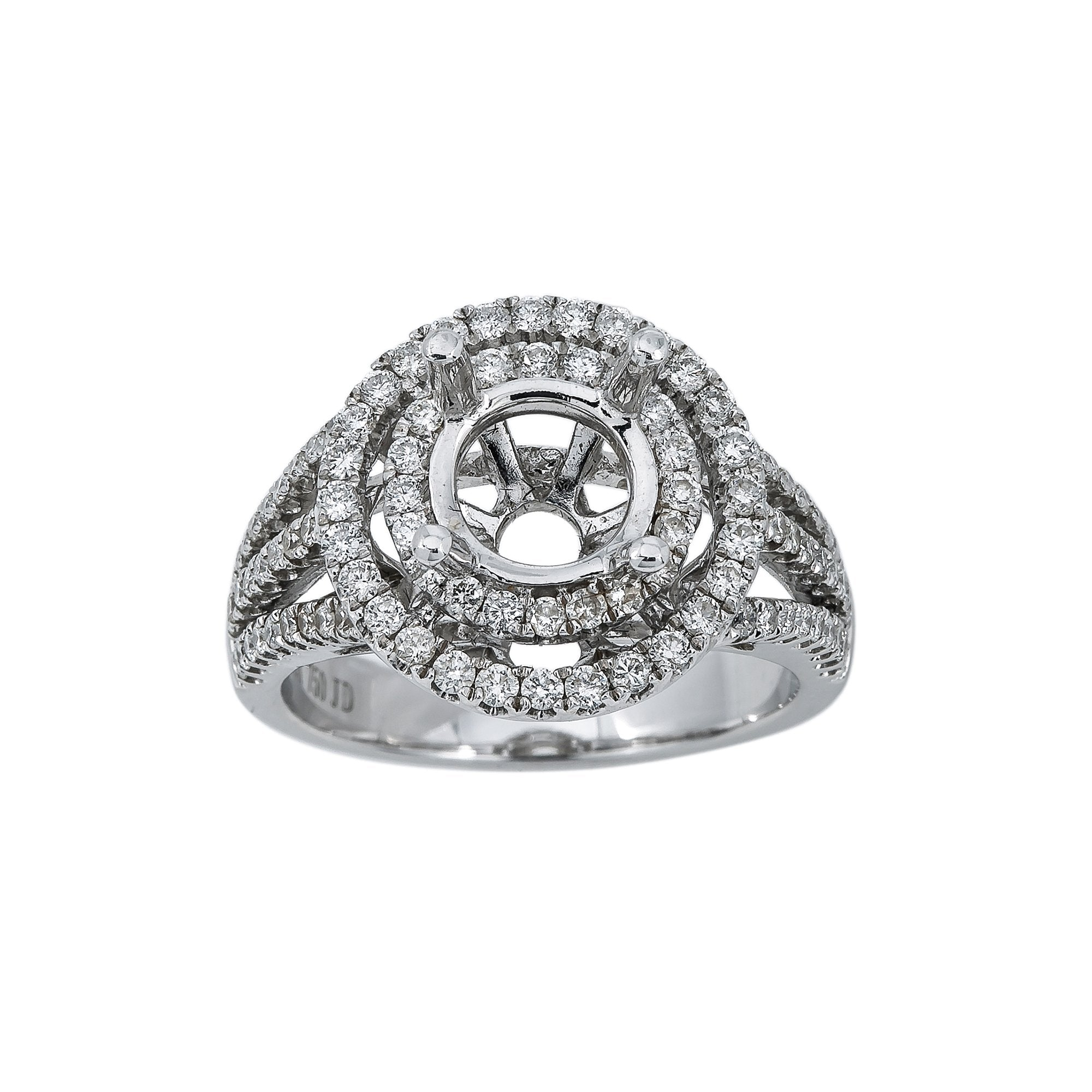 18K White Gold BJ7516R Women's Ring With 1.00 CT Diamonds
