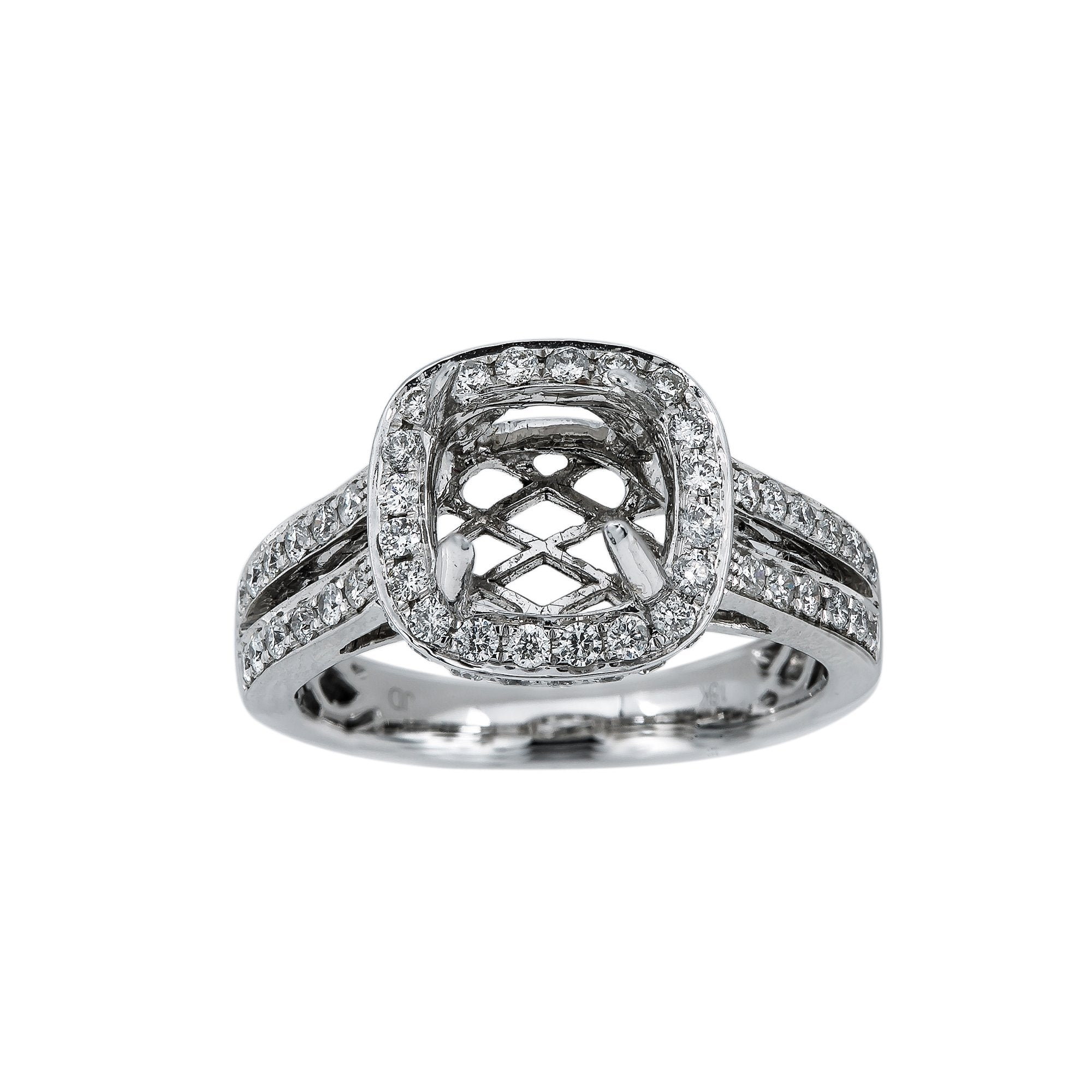 18K White Gold RR0649 Women's Ring With 0.85 CT Diamonds