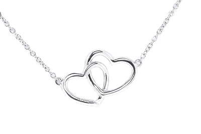 18K White Gold Double Heart Diamond Pendant with Chain 0.65CT