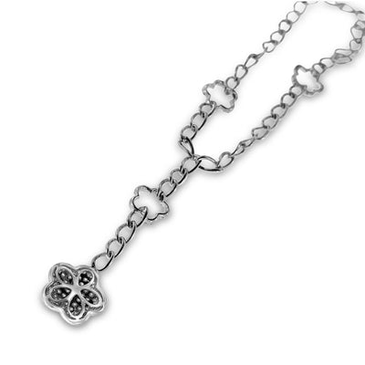 18K White Gold Necklace with Floral Diamond Pendant And Round Cut Diamonds 1.50CT