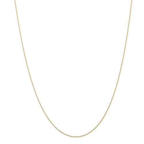 "10k Yellow Gold .5 mm Carded Cable Rope Chain Available Sizes 16""-24"""