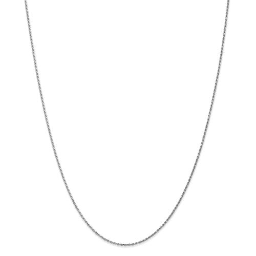 "10k White Gold 1.15mm Machine Made Diamond Cut Rope Chain Available Sizes 7""-30"""