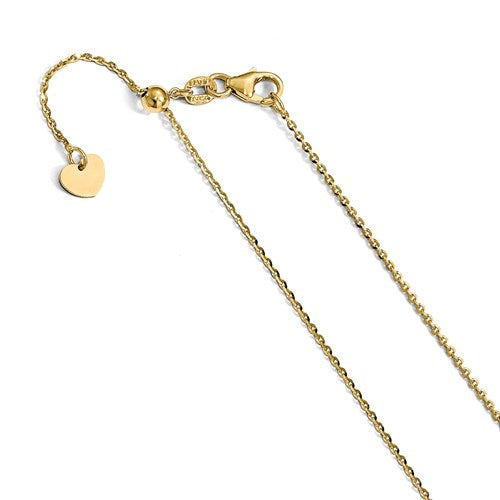 14K 1.15 mm Oval Open Link Adjustable Chain Available 30""