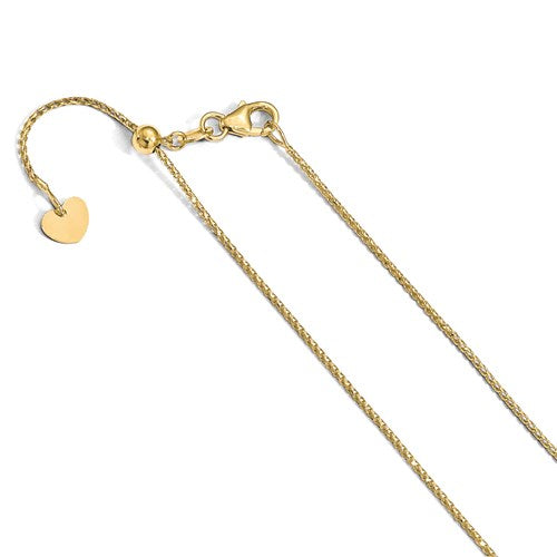 14K 1 mm Open Franco Adjustable Chain Available Size 22""