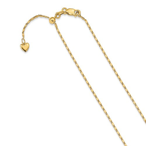 "14K Polished Fancy Link Adjustable Chain Available Sizes 22""-30"""