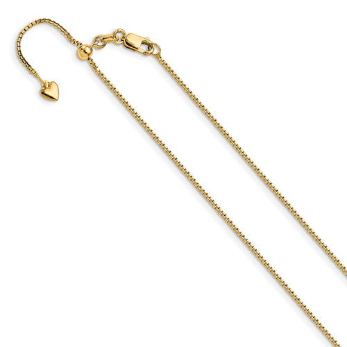 14K 1mm Adjustable Box Chain Available Size 22""