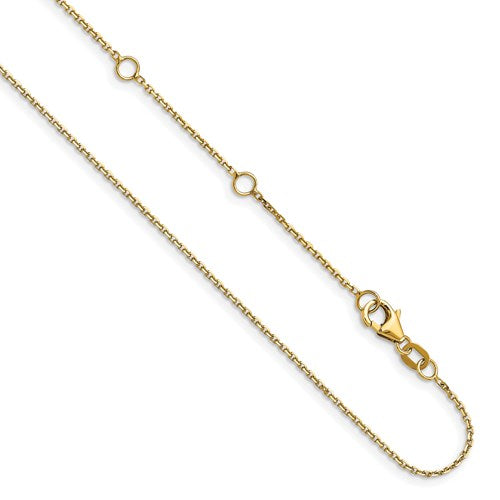 14k Yellow Gold 1.10mm Rolo 1in + 1in Adjustable Chain Available Size 18""