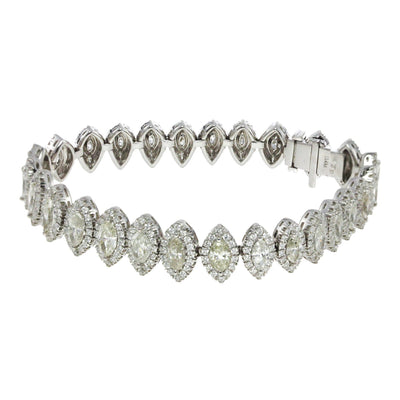 18K White Gold Marquise And Round Diamond Fancy Bracelet Total of 13.43CT