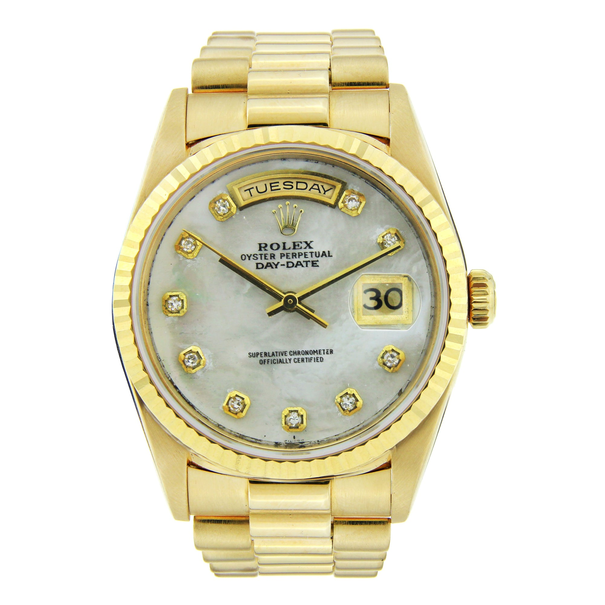 Rolex Day Date Diamond Watch, 36mm, 18K Yellow GoldMother of Pearl Diamond Dial