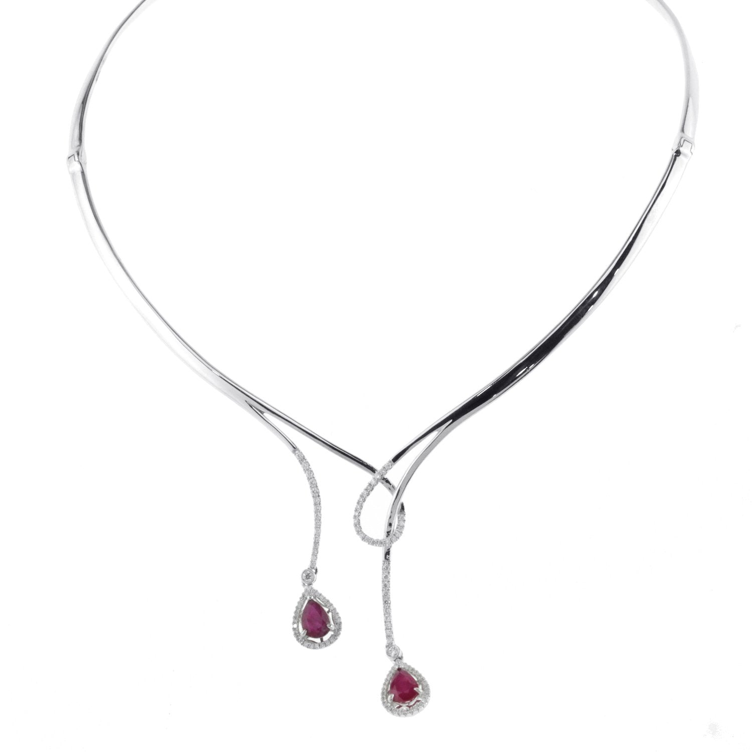 18K Diamond and Ruby Choker Necklace With Round Cut Diamonds 2.54CT