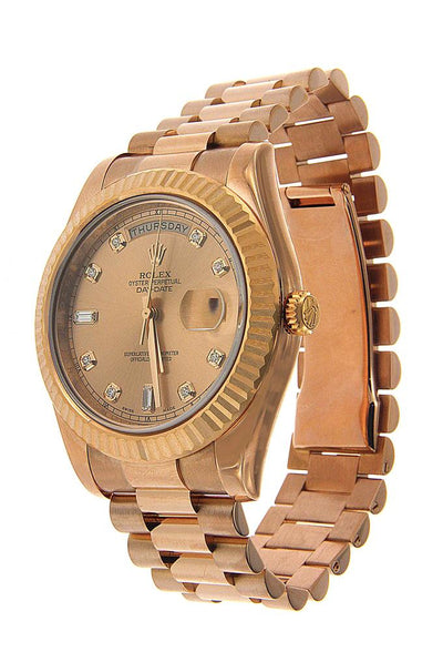 18K Rose Gold Rolex Diamond Watch, Day Date II President 218238 41mm, Champagne Diamonds Dial
