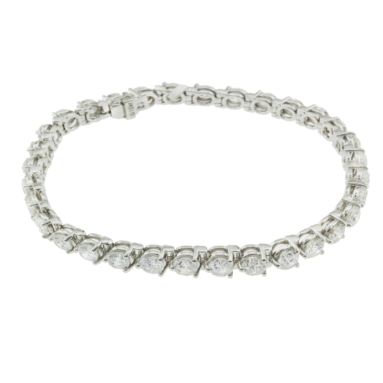 18K White Gold Diamond Tennis Bracelet With Round Cut Diamonds 9.50CT