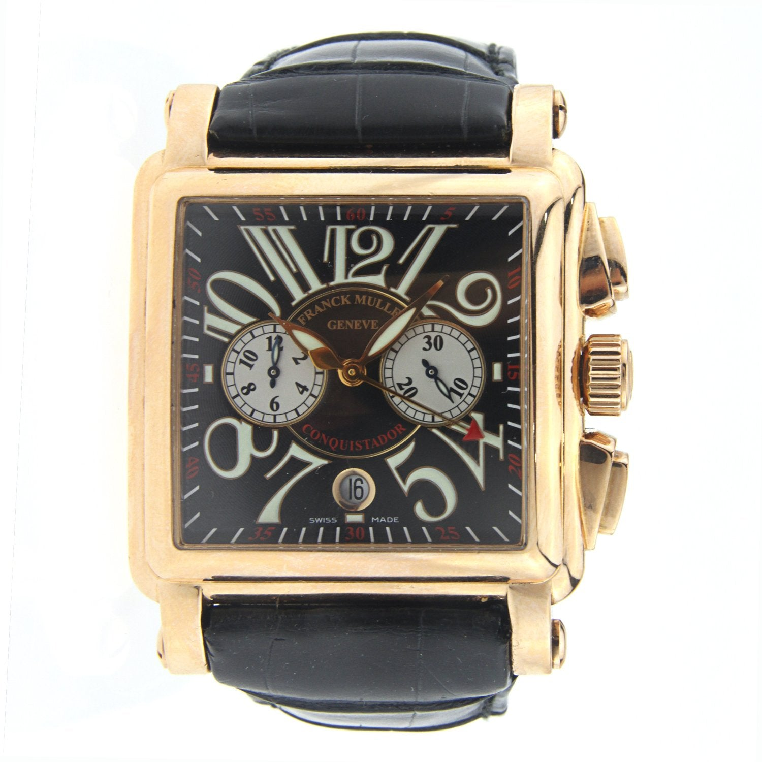 Franck Muller Conquistador Rose Gold with Leather Strap 31MM