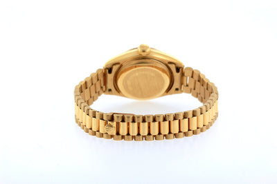 18k Yellow Gold Rolex Datejust Diamond Watch, 26mm, President Bracelet Earthern Dial w/ Diamond Bezel