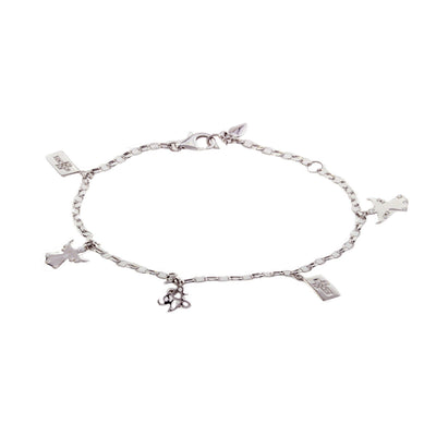 Diamond Charm Bracelet with Angel Charms