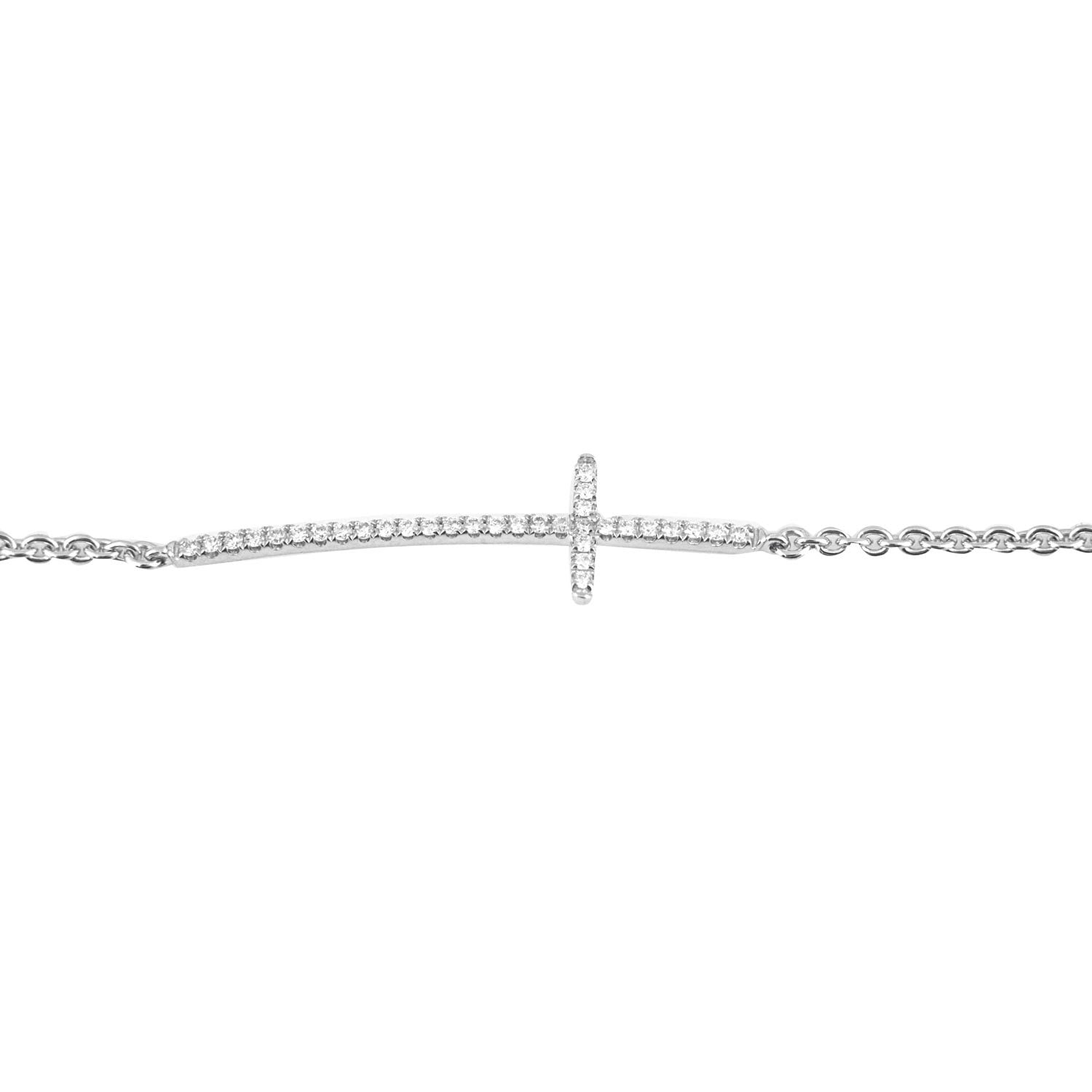 18K White Gold Diamond Side Ways Cross Bracelet With Round Diamonds 0.20CT