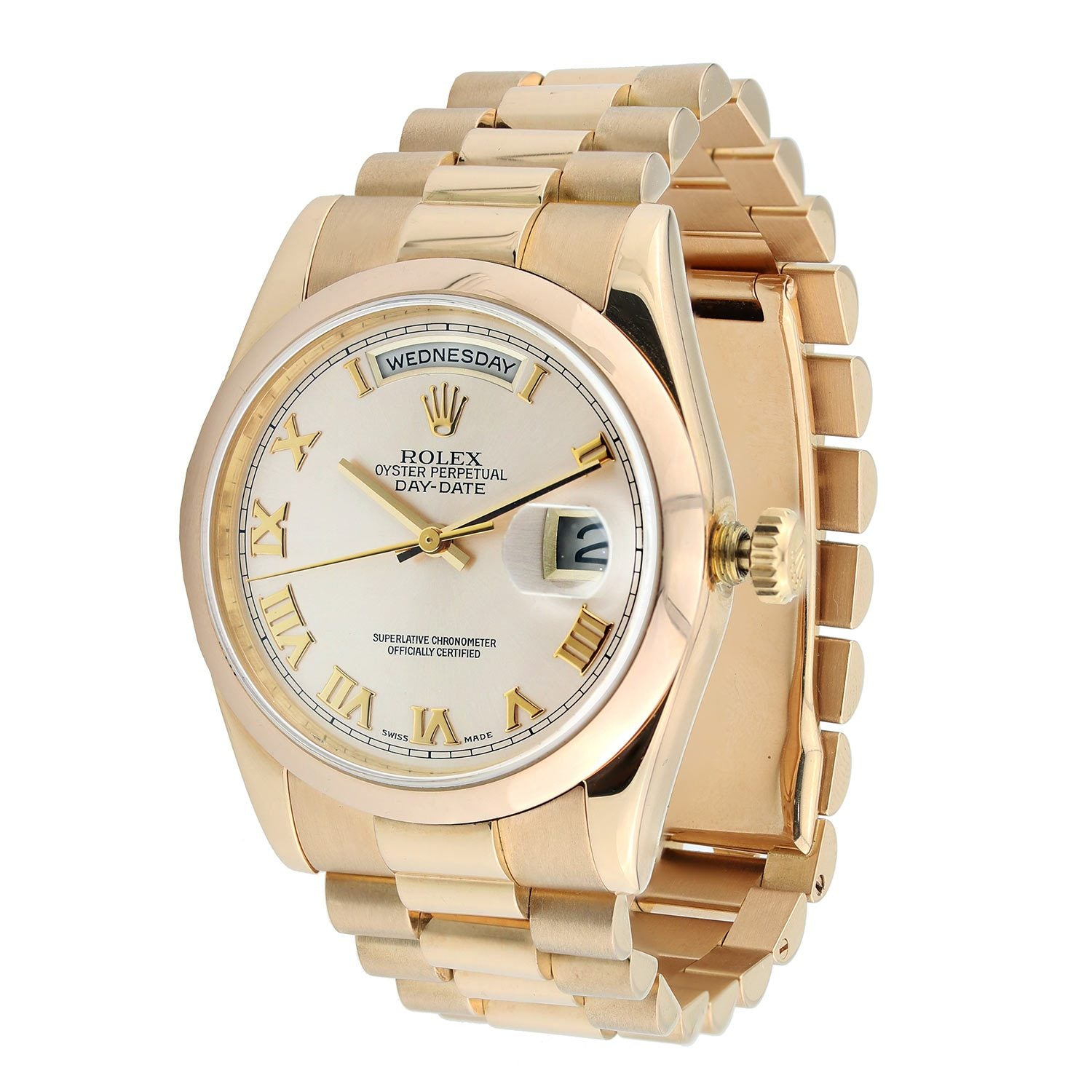 Rose Gold Rolex Day Date Presidential 36mm Pink Champagne Roman Numeral Dial 18K Rose Gold