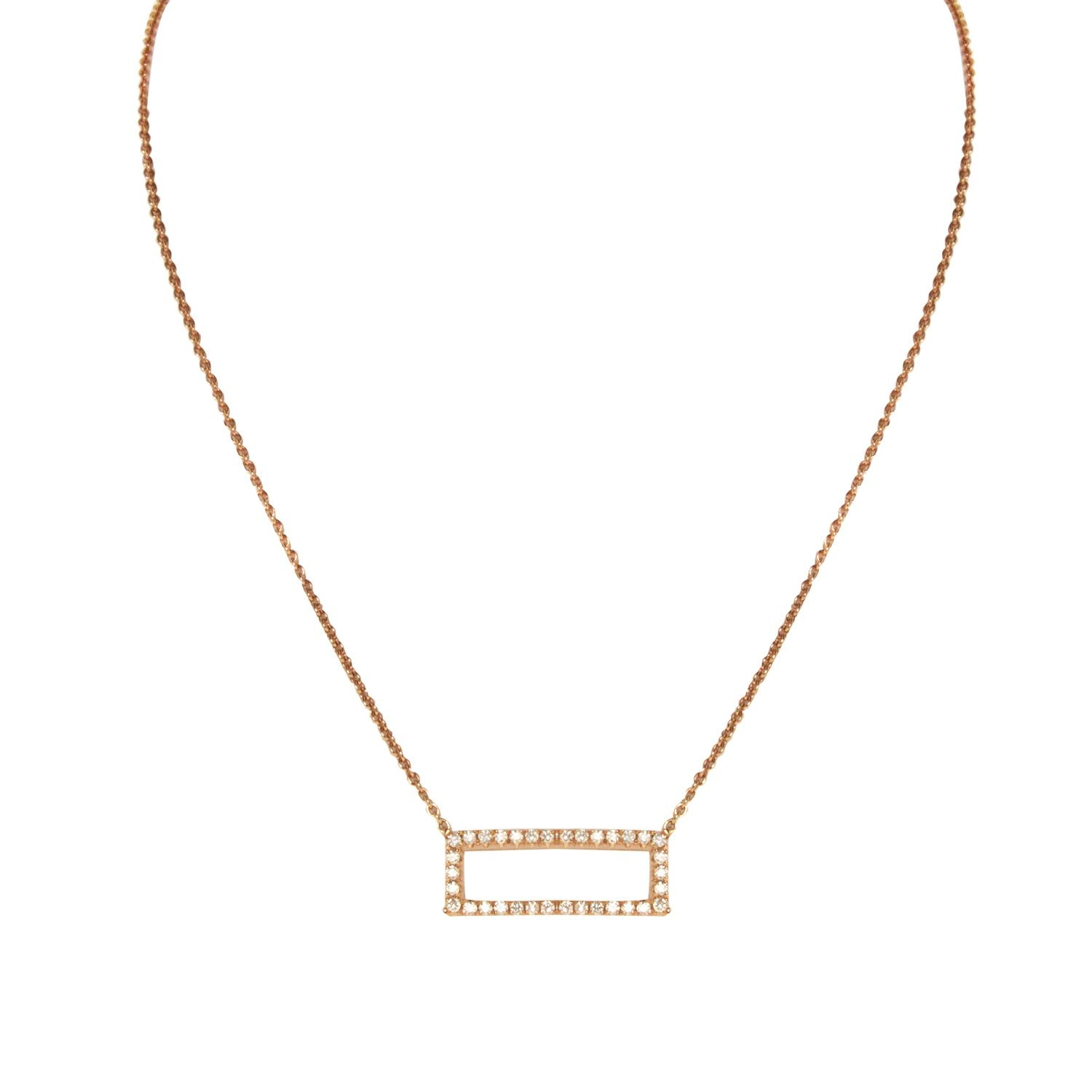 18K Rose Gold Diamond Rectangle Pendant with Chain 0.26CT